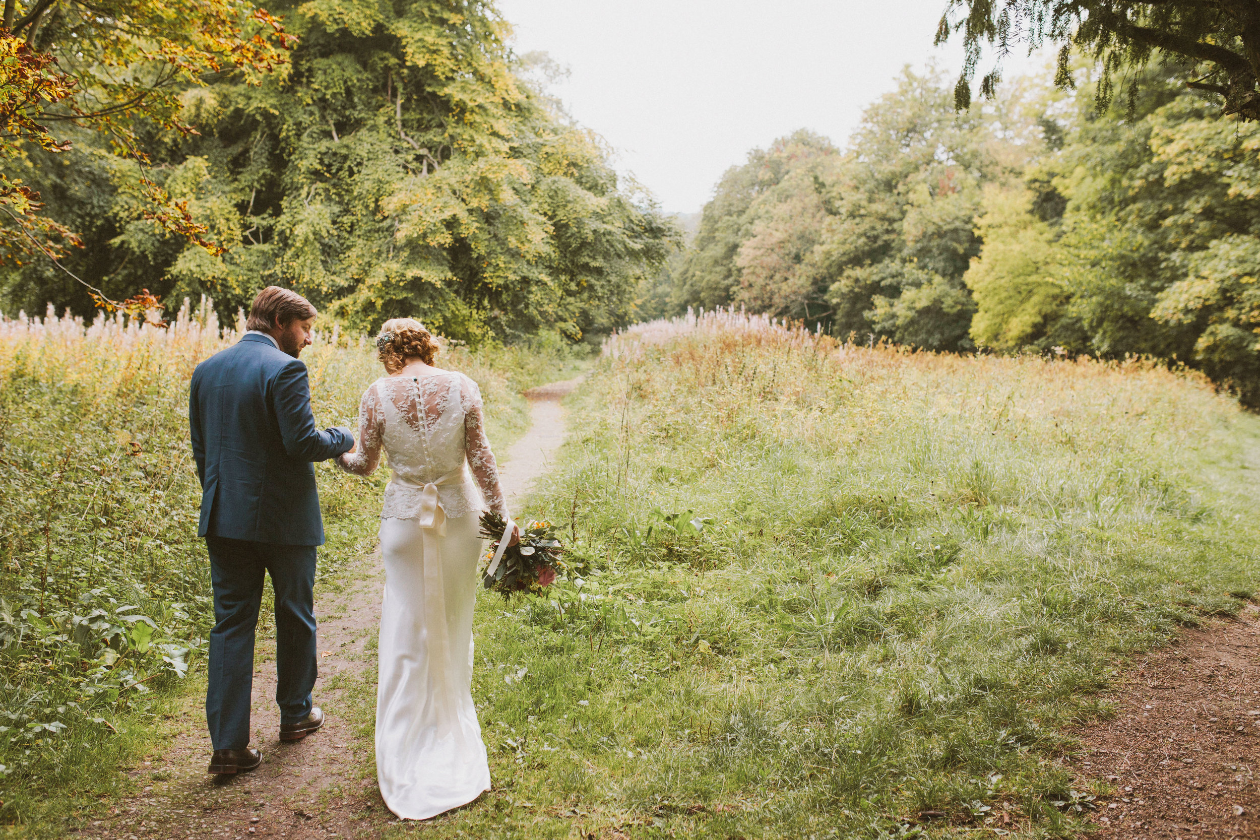 Jo-Peak-District-Autumn-Wedding-Bespoke-Vintage-Bias-Wedding-Gown-Lace-Jacket-Susanna-Greening-Matlock-11