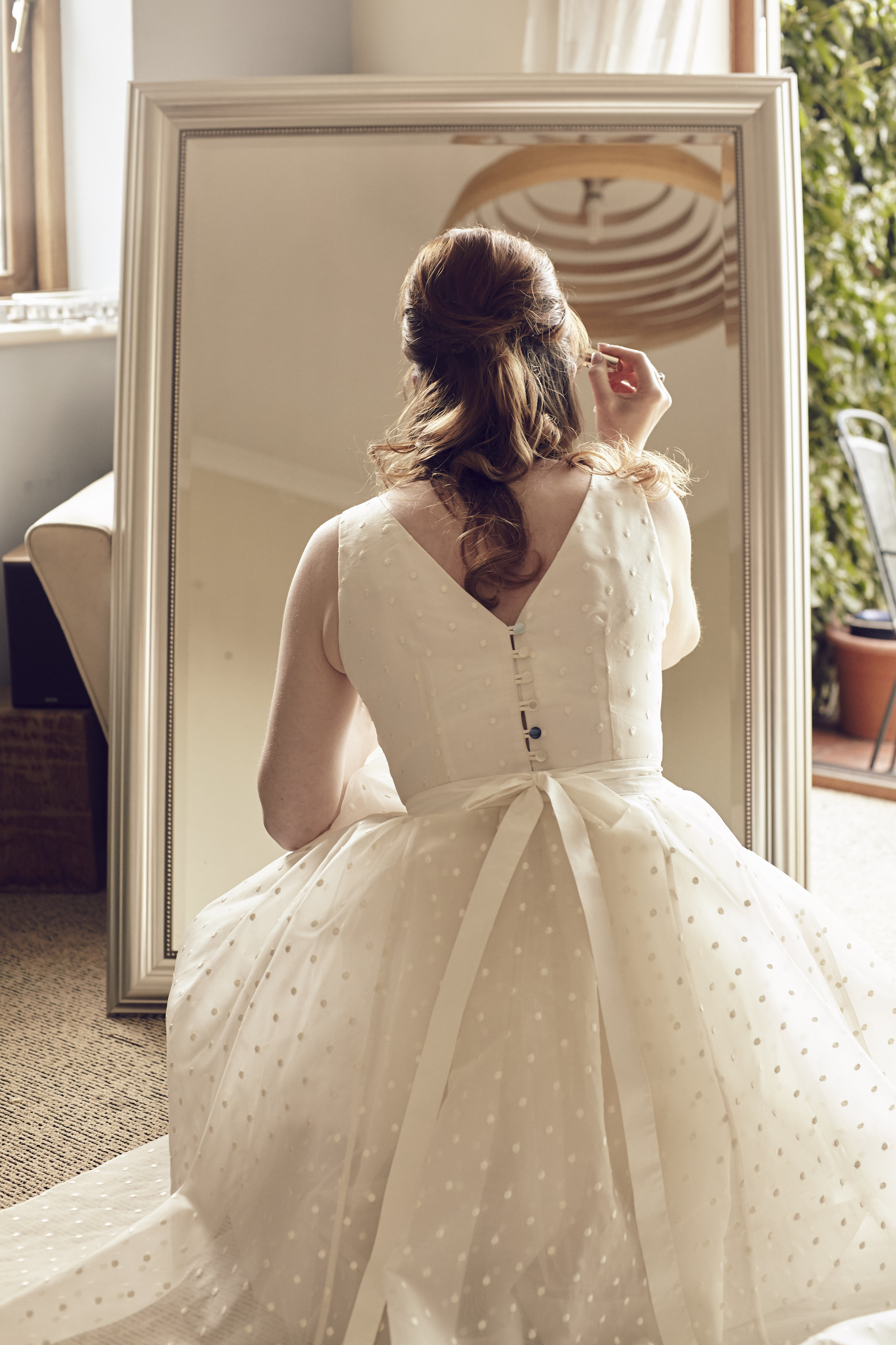 Suzi-Matlock-Polka-Dot-Bespoke-Wedding-Dress-High-Low-Susanna-Greening-Designs-Derbyshire-3