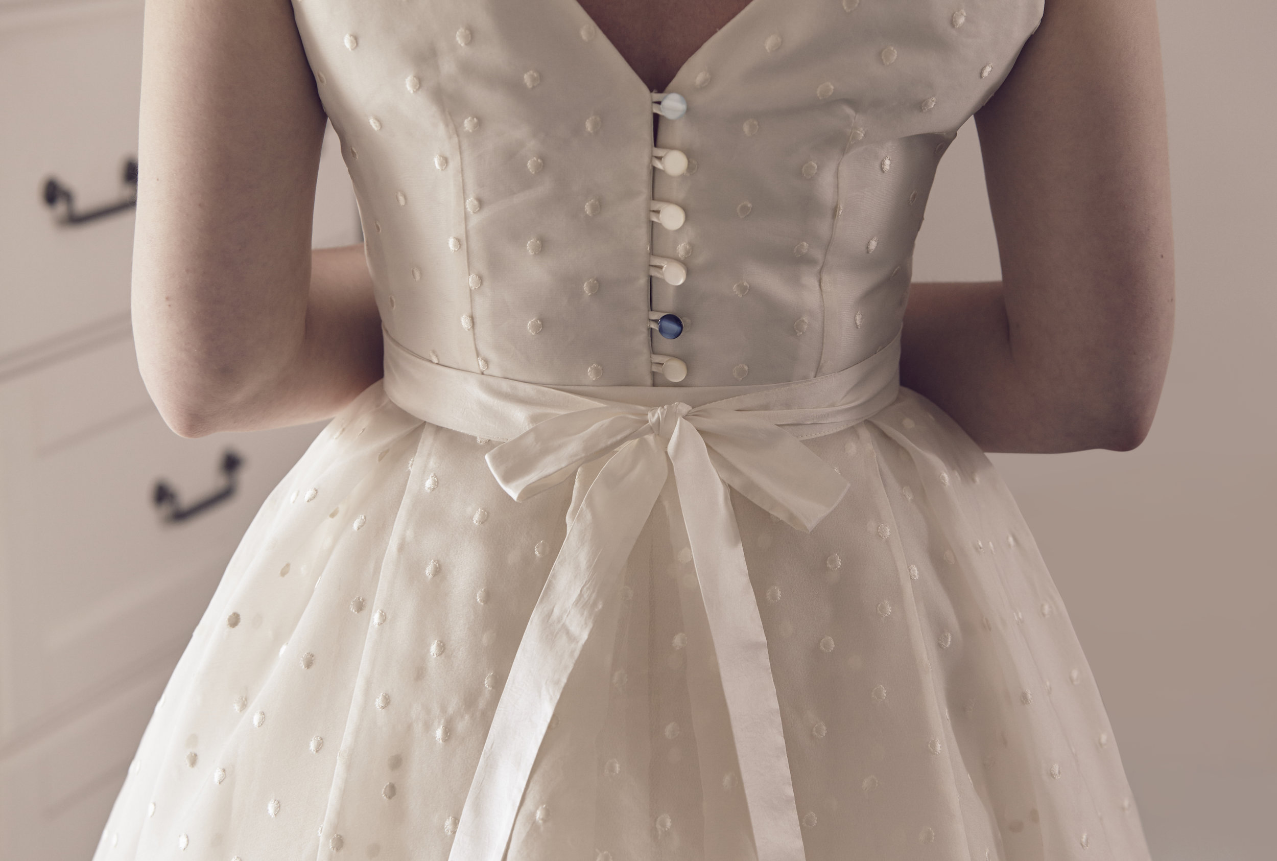 Suzi-Matlock-Polka-Dot-Bespoke-Wedding-Dress-High-Low-Susanna-Greening-Designs-Derbyshire-5