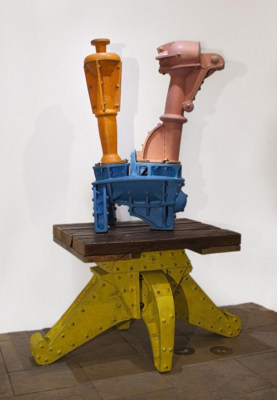 Doug Herren, Large Industrial Teapot (top); Yellow Table Stand (bottom), 2012