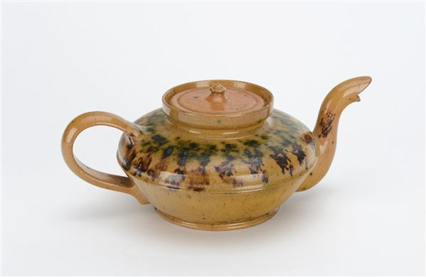 George E. Ohr,  Lidded Teapot with Tobacco and Spinach Glaze , c. 1900, earthenware, glaze, 4 x 9 x 9 inches