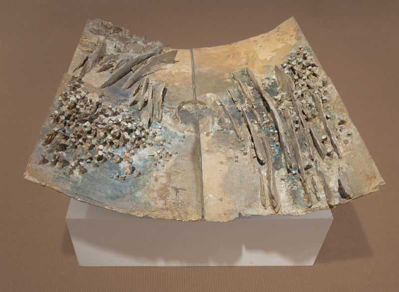 Ruth Duckworth,  Untitled (  Clouds Over Lake Michigan),  1972, stoneware with glazes, 12 x 43 x 40 inches