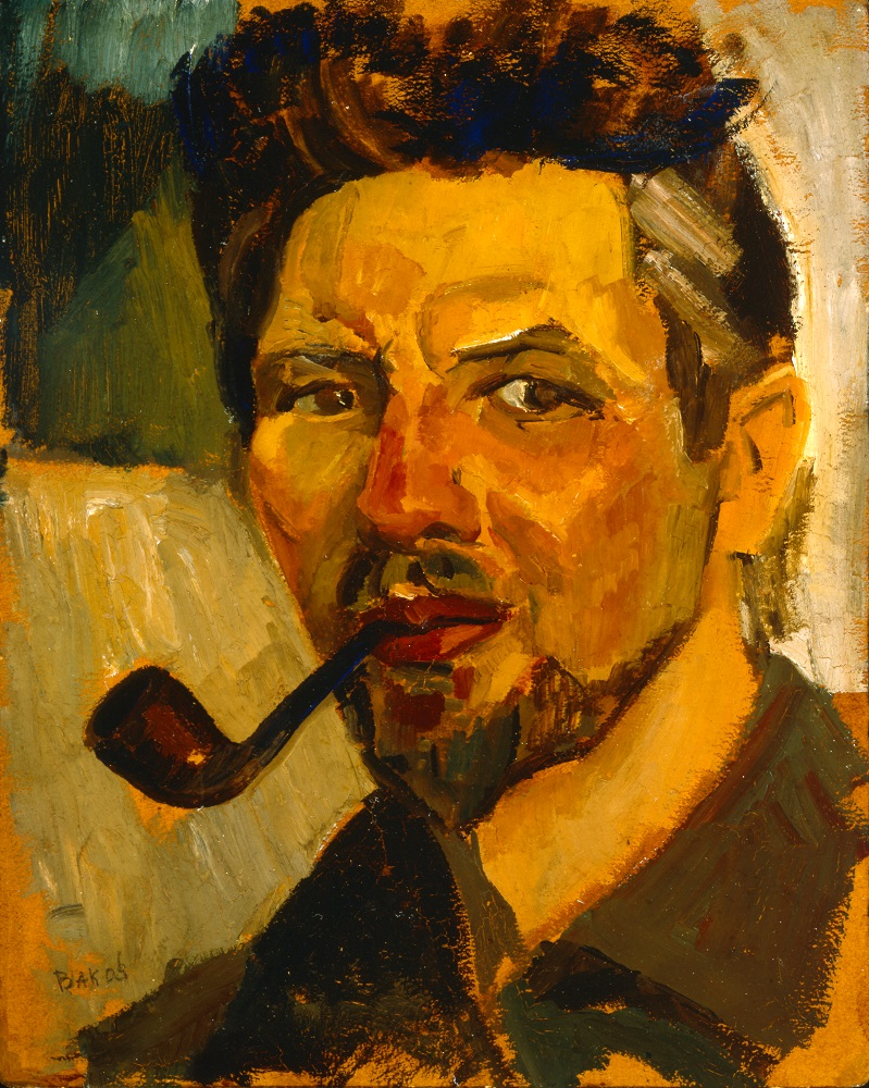 Jozef Bakos, Self Portrait with Pipe