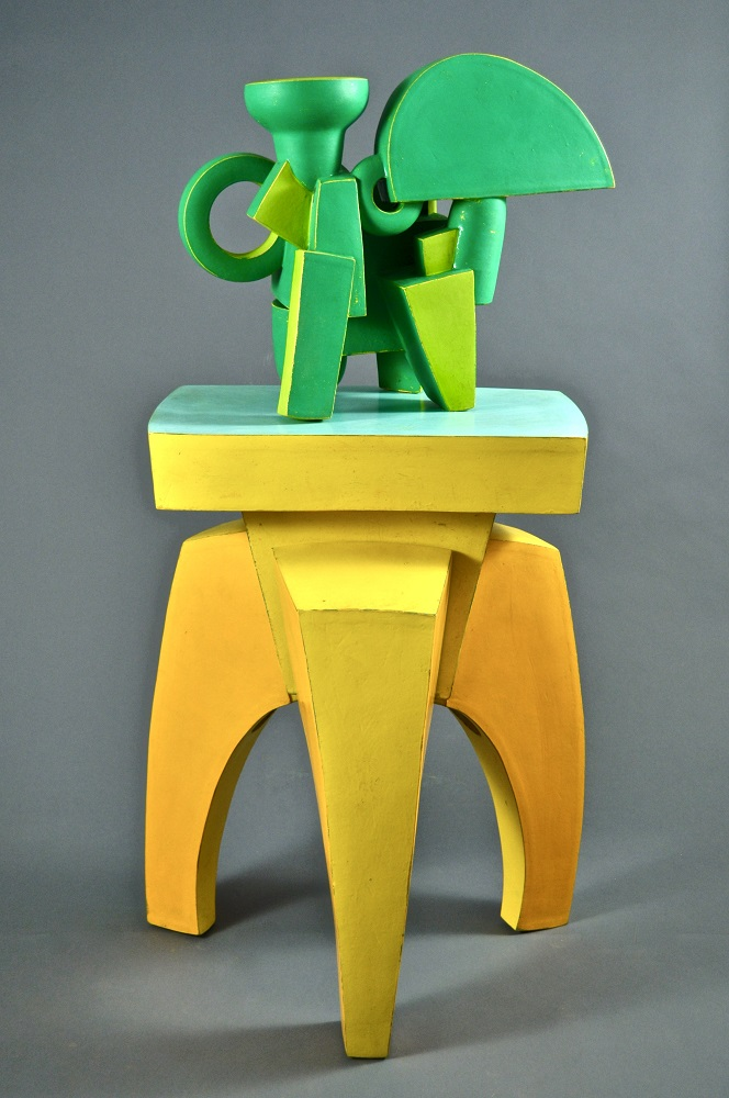 Green Chromatic Ewer & Yellow Stand