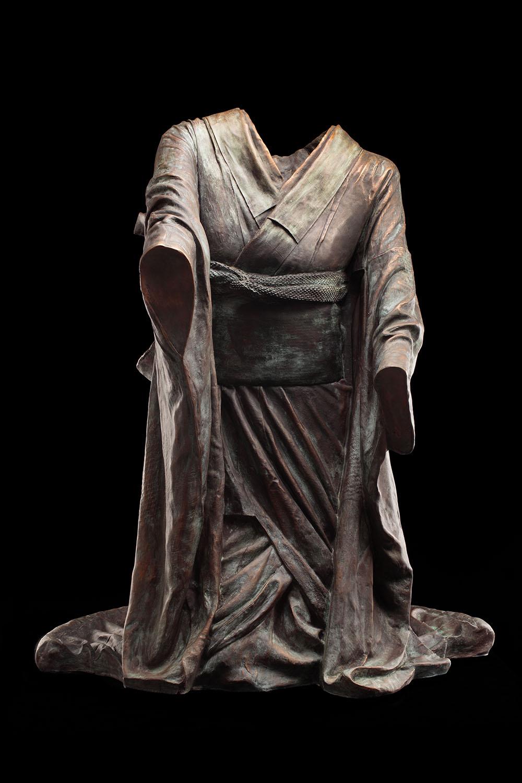 Kneeling Chado, 2/3,  2011, bronze, 38 x 32 x 33 1/2 in.