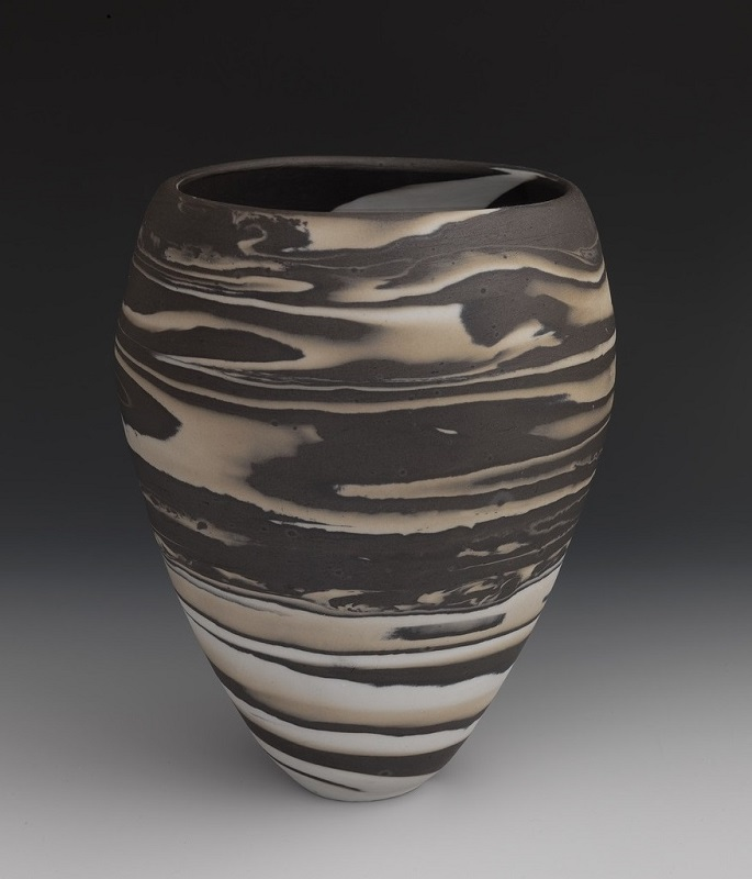 Brown, Tan, & White Swirl Neriage Vessel , 2017, porcelain, 9 1/2 x 7 x 7 inches.