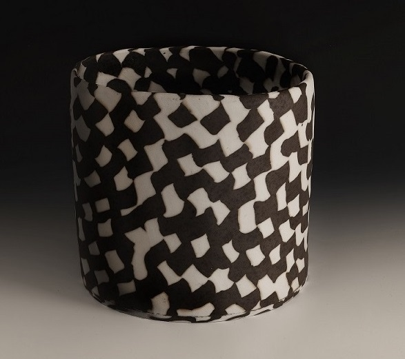 Large Black & White Woven Neriage Cylinder , 2017, porcelain, 9 x 9 1/2 x 8 1/2 inches.