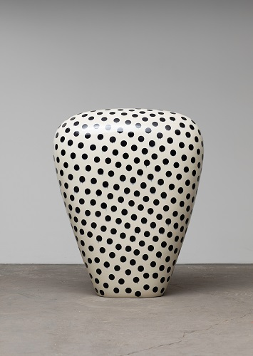 Untitled, 2018, glazed raku ceramics,  37 x 30 1/4 x 15 1/2 inches.
