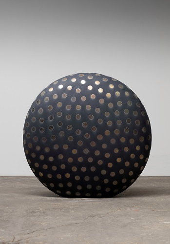 Untitled, 2019, glazed raku ceramics,  35 1/2 x 36 1/2 x 14 inches.