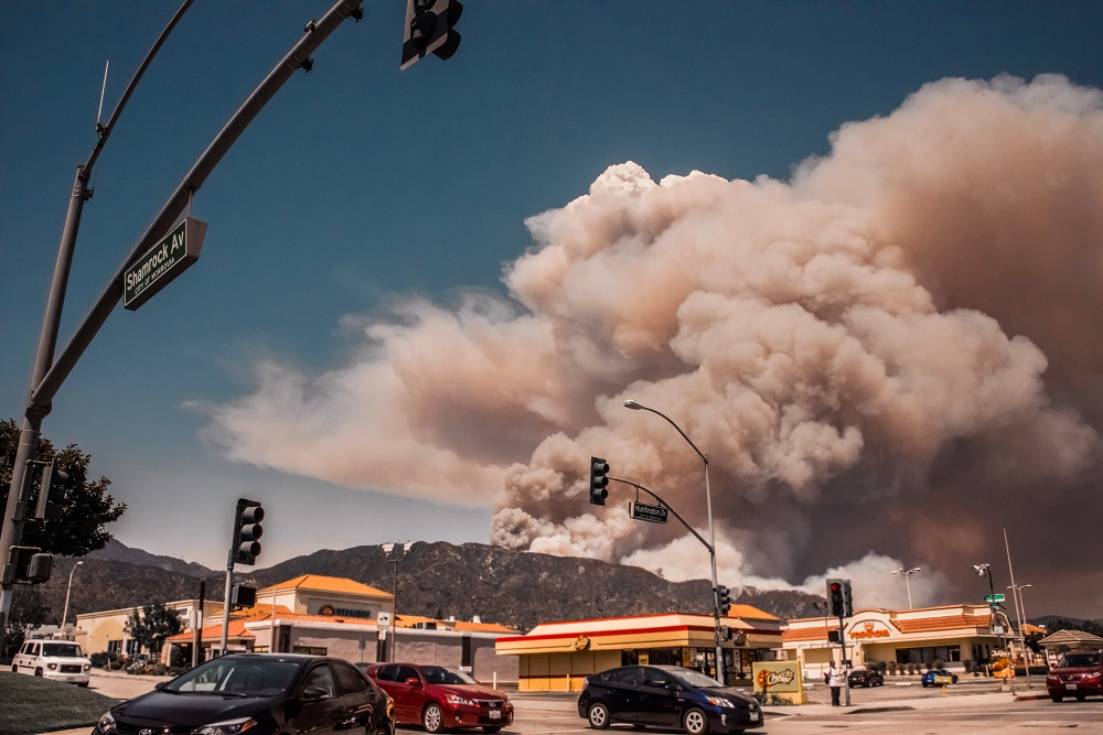 Fire from Intersection in Monrovia, California, 2016