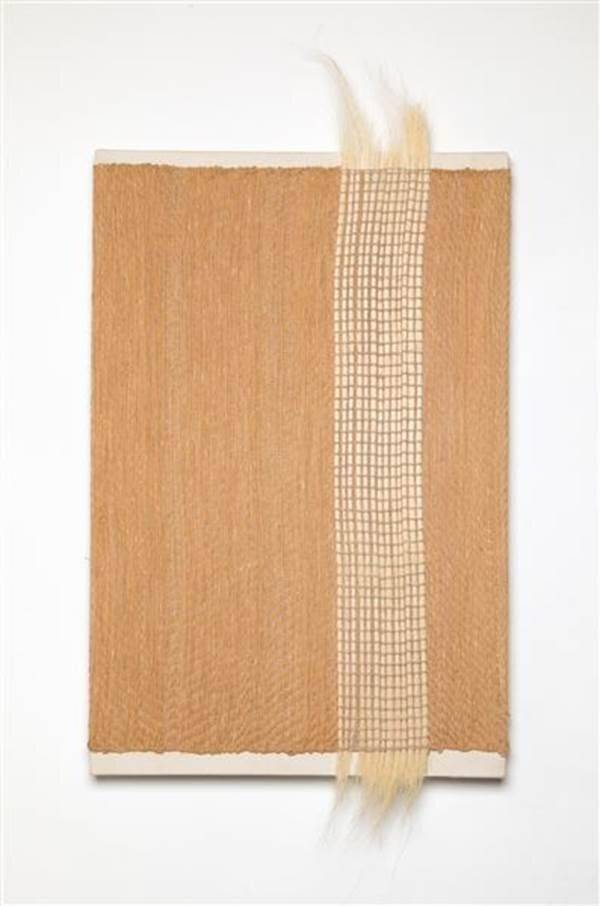 Mirage 13, hand woven painting stretched on canvas, 49 x 24 1/4 x 2 1/8 inches.