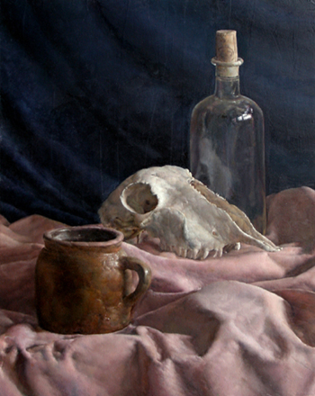 Jug, Bottle and Skull