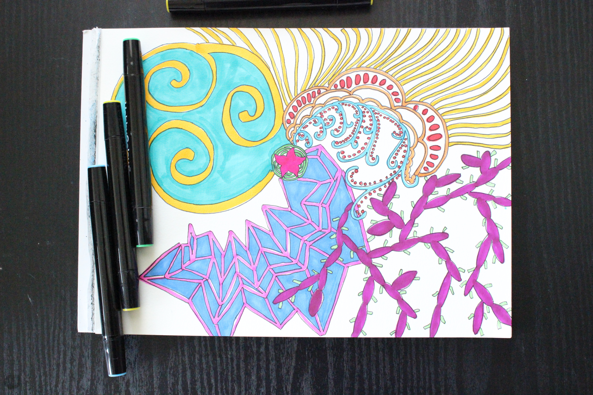 I'm working to fill much of the white space with some creative doodling.