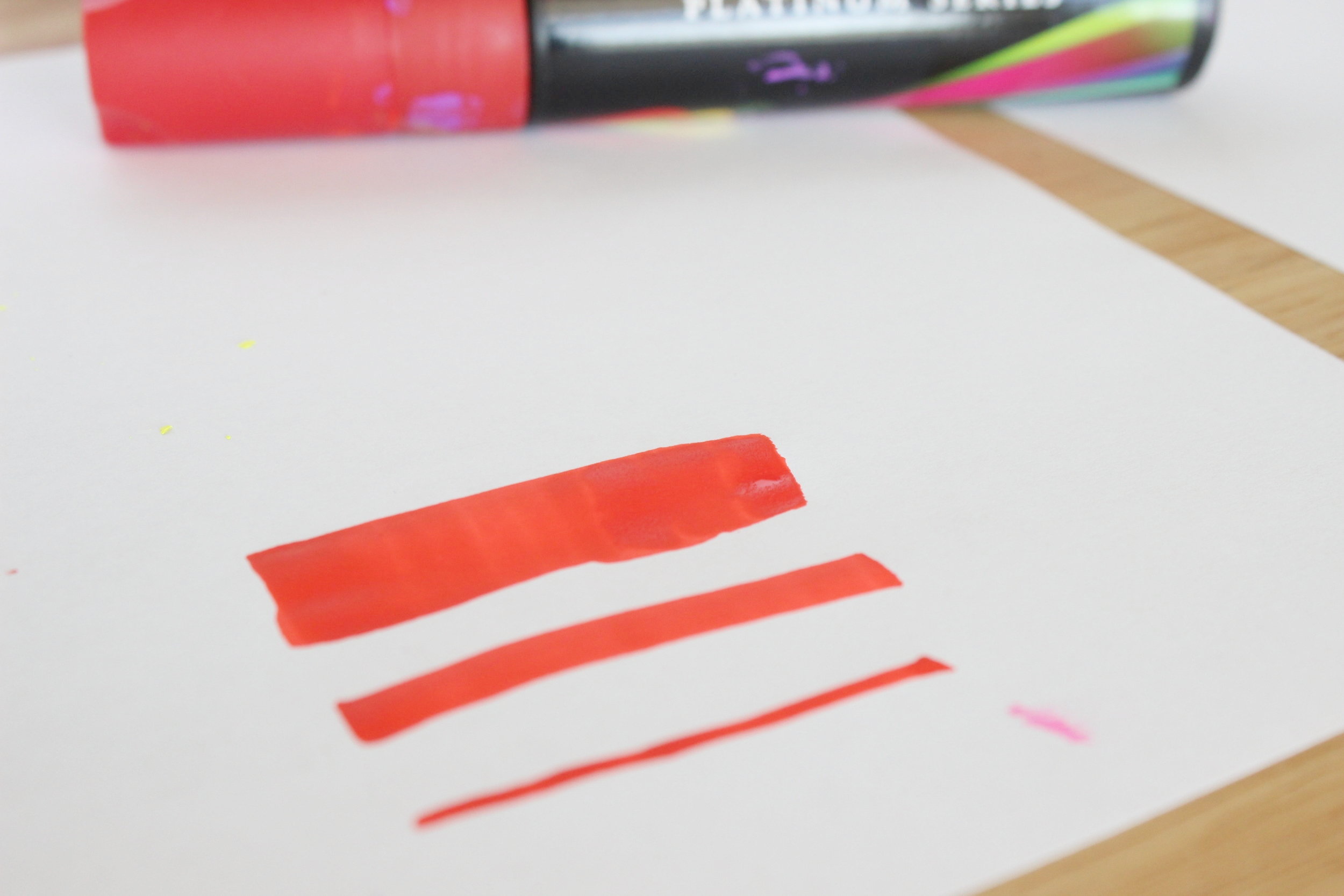 The 3 types of lines that the Chalkola Platinum Series Markers with the 3-in-1 tip can make.