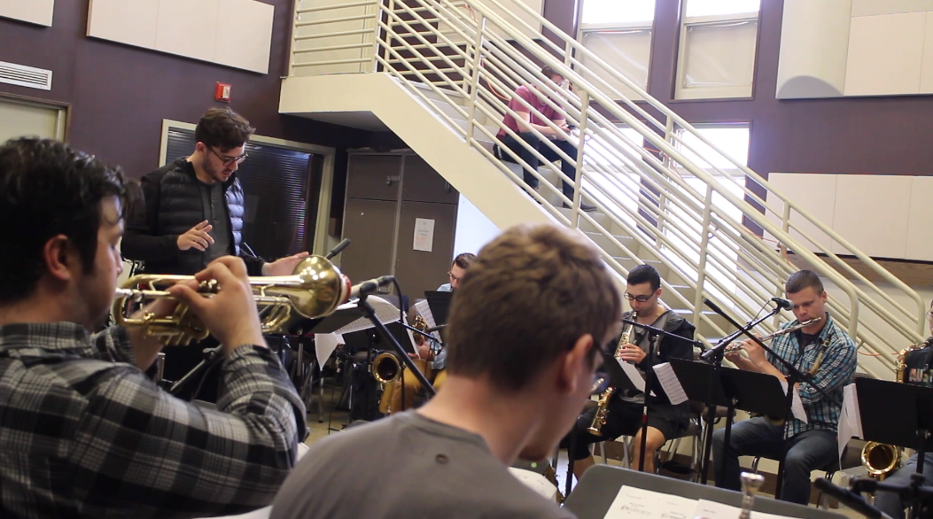 "CMA conducting the Frost Concert Jazz Band recordings his original composition,   ""Since You Went Away"""