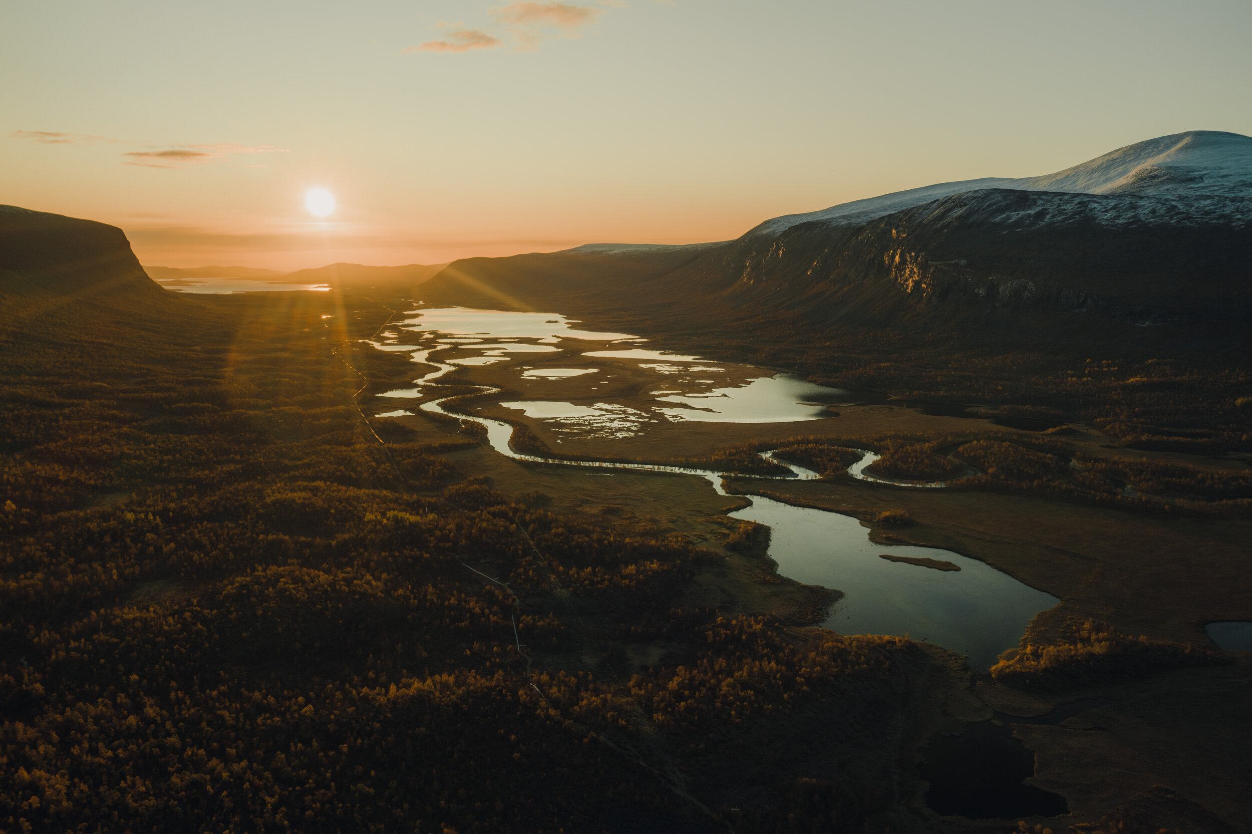 Sunrise over the Láddjuvággi delta.