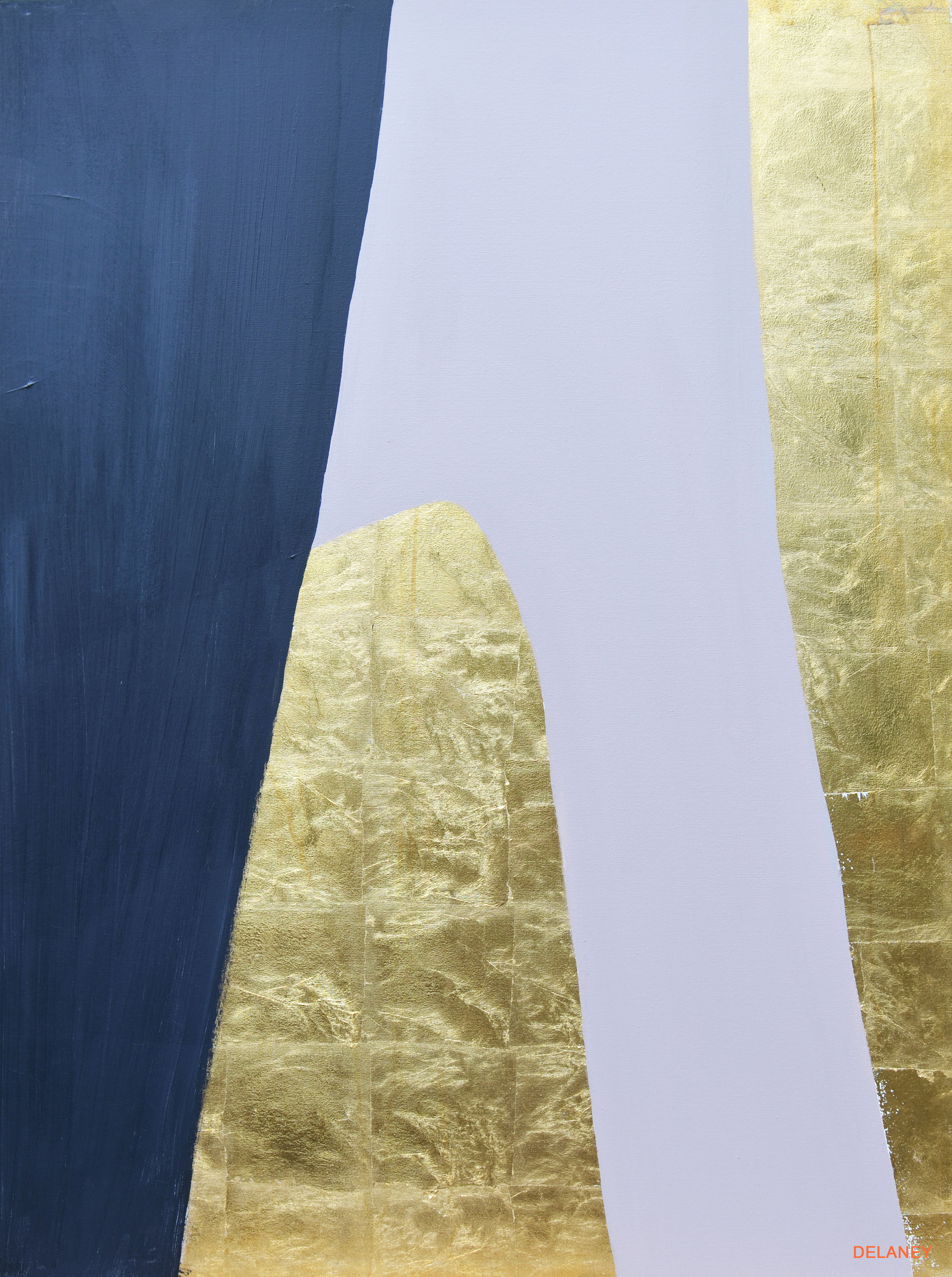 Grey Triptych #3  Gold leaf and acrylic on canvas (122x91cm)