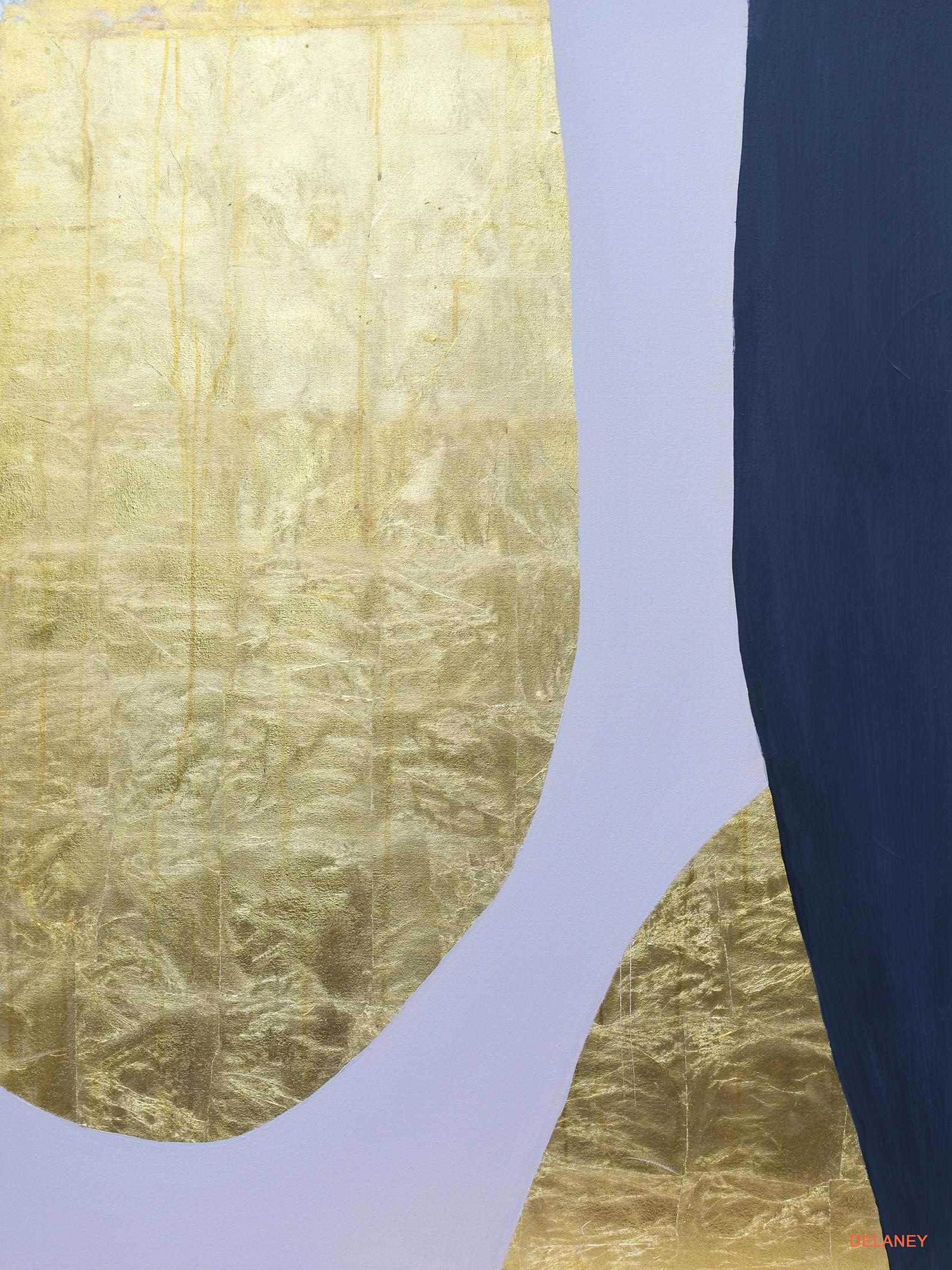 Grey Triptych #2  Gold leaf and acrylic on canvas (122x91cm)