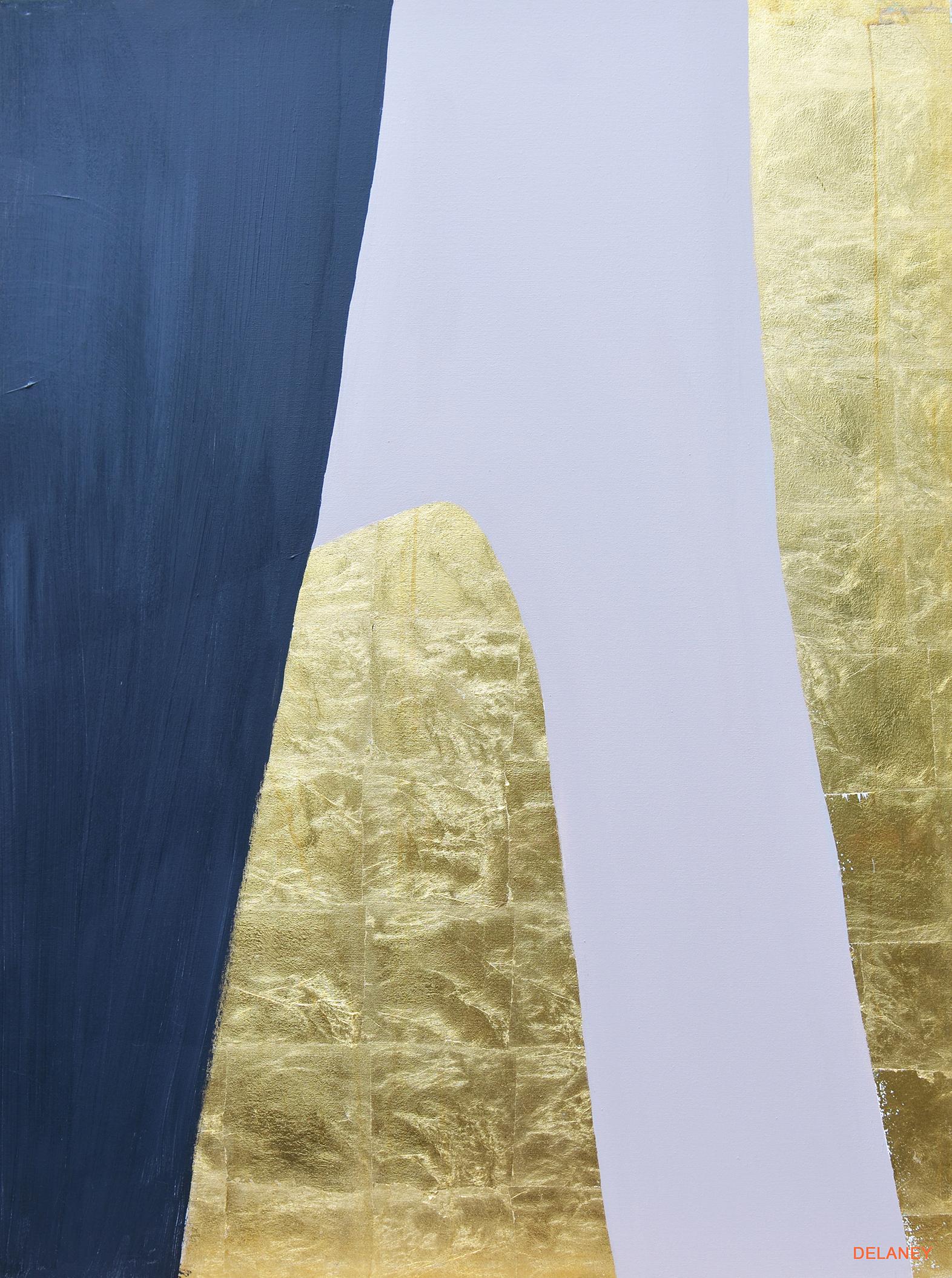 Grey Triptych #3  Gold leaf and acrylic on canvas (122x91cm)