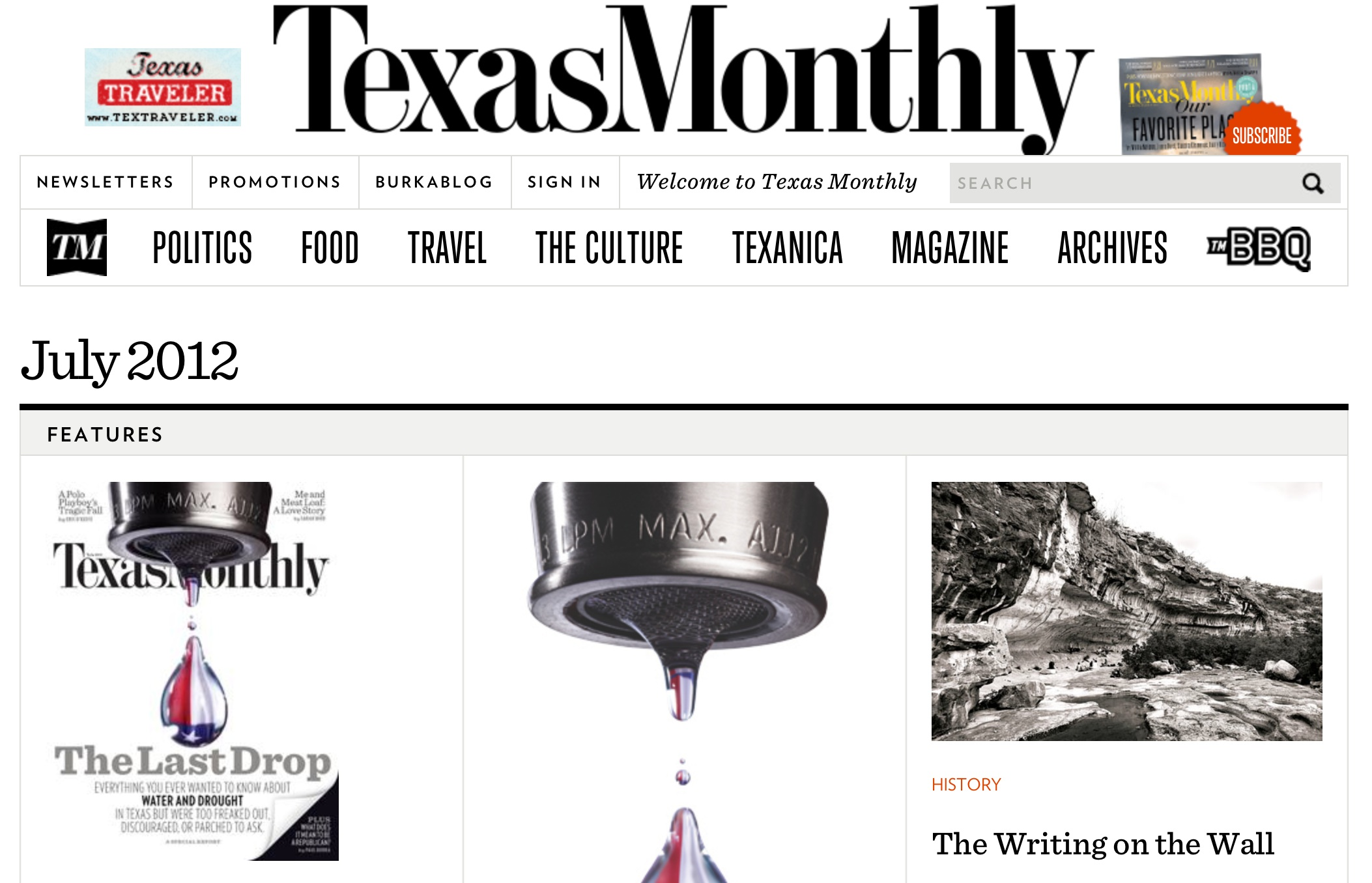 "Texas Monthly July 2012  ""The Drop Everything List - Bastrop, Texas"""