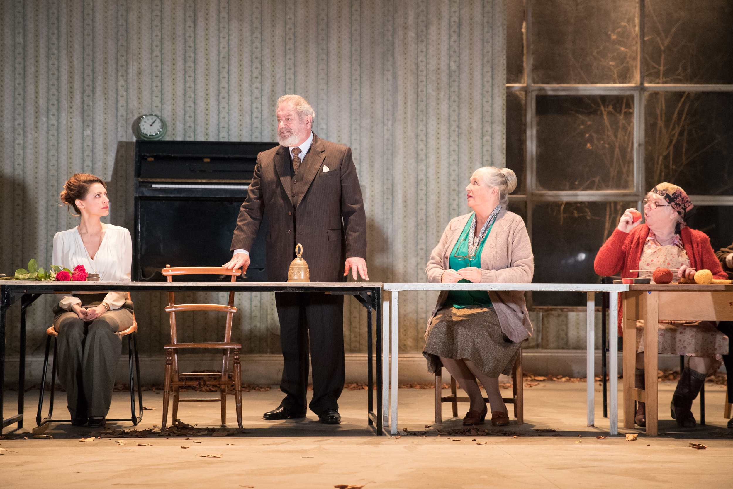 Yelena ( Hara Yannas ), Prof Serebrayakov ( David Fleeshman ), Maria ( Joanna McCallum ), and Marina ( Carol Macready ) in   Uncle Vanya  . Presented by  HOME  (3rd - 25th Nov 2017) ||  Photo by   Jonathan Keenan .