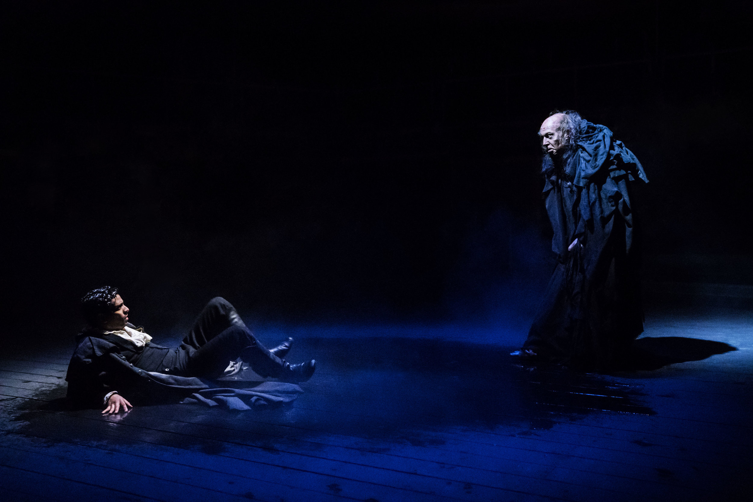 Victor Frankenstein ( Shane Zaza ) and The Creature ( Harry Attwell )in   FRANKENSTEIN  as adapted by  April De Angelis  and performed at the   Royal Exchange Theatre   (9 Mar - 14 Apr 18) || Photo by  Johan Persson  - courtesy of  the Royal Exchange Theatre