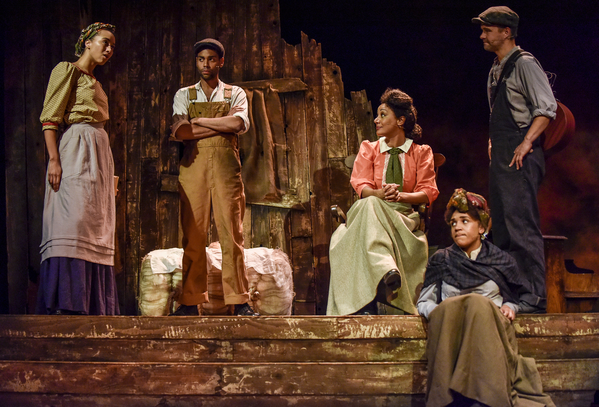 Lucy-Rose Atkins ( Emma Naomi ), Cal Jackson ( Oliver Wellington ), Elizabth Gurley Flynn ( Tupele Dorgu ), Abbie Williams ( Sophie Mercell ) and Joe Ettor ( Rupert Hill )in '  BREAD & ROSES  ' (22 Jun - 7 Jul 2018) at  Oldham Coliseum Theatre     Photo by  Joel Chester Fildes , courtesy of Oldham Coliseum Theatre