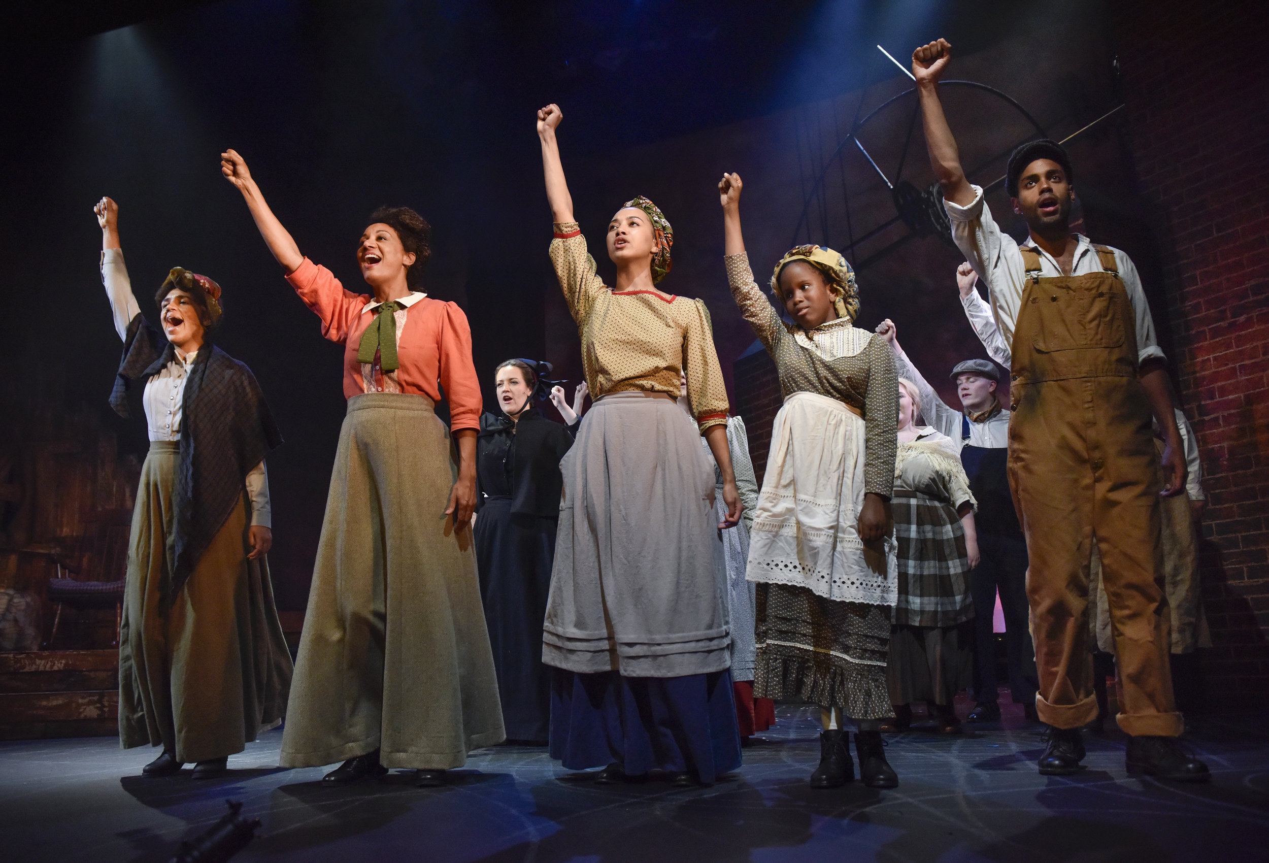 Abbie Williams ( Sophie Mercell ), Elizabth Gurley Flynn ( Tupele Dorgu ), Lucy-Rose Atkins ( Emma Naomi ), Ruth Atkins and Cal Jackson ( Oliver Wellington )in '  BREAD & ROSES  ' (22 Jun - 7 Jul 2018) at  Oldham Coliseum Theatre     Photo by  Joel Chester Fildes , courtesy of Oldham Coliseum Theatre
