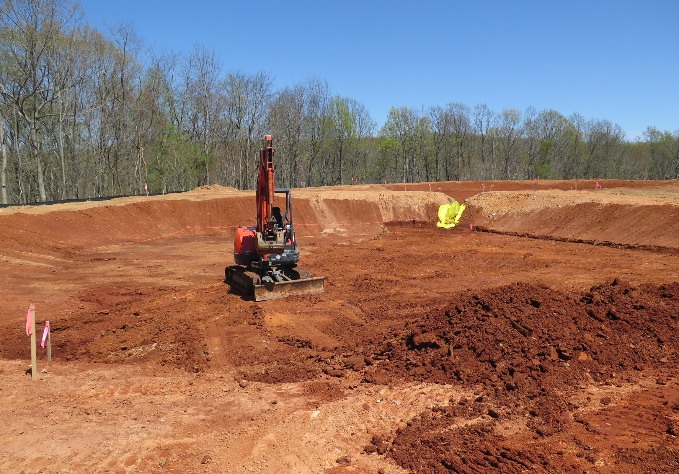 Construction of the wetland in mid-February.