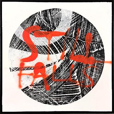 'Still Falls…' Ink, acrylic, spray paint on birch. 58 x 58 cm 2018