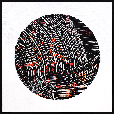 'Still Falls The Rain' Ink, acrylic, spray paint on birch. 58 x 58 cm 2018