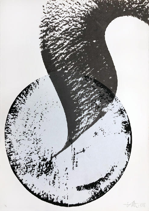'Stadio Superficie No.1' (D) 70x100cm, 3 colour screen-print. 1/1 mono-print.