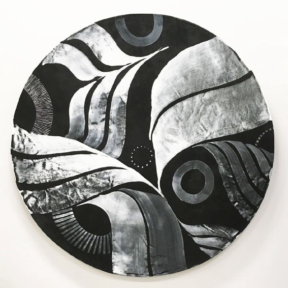 'Circle 1' ink and acrylic on canvas, 120cm.