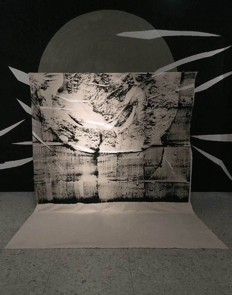 'Silence Surrounds Cement (Part.1)' Ink, cement and canvas, 270 x 200cm.