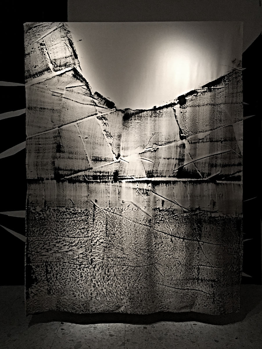 'Silence Surrounds Cement (Part.2)' Ink, cement and canvas, 270 x 200cm.