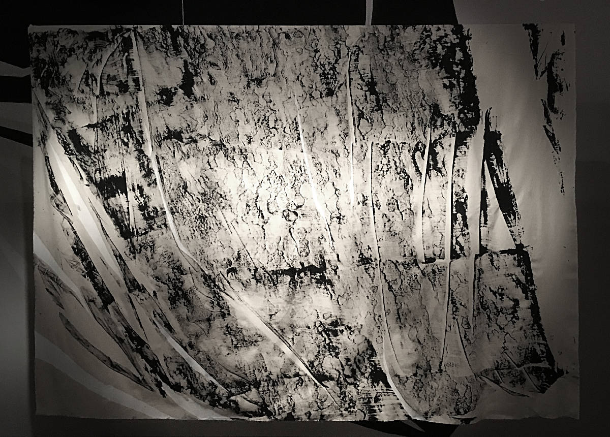 'Left Standing on Precinct and Broadgate (Part.2)' Ink, cement and canvas, 200 x 270cm.