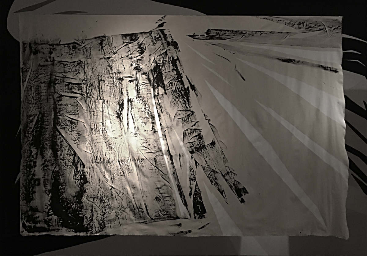 'Left Standing on Precinct and Broadgate (Part.1)' Ink, cement and canvas, 200 x 270cm.