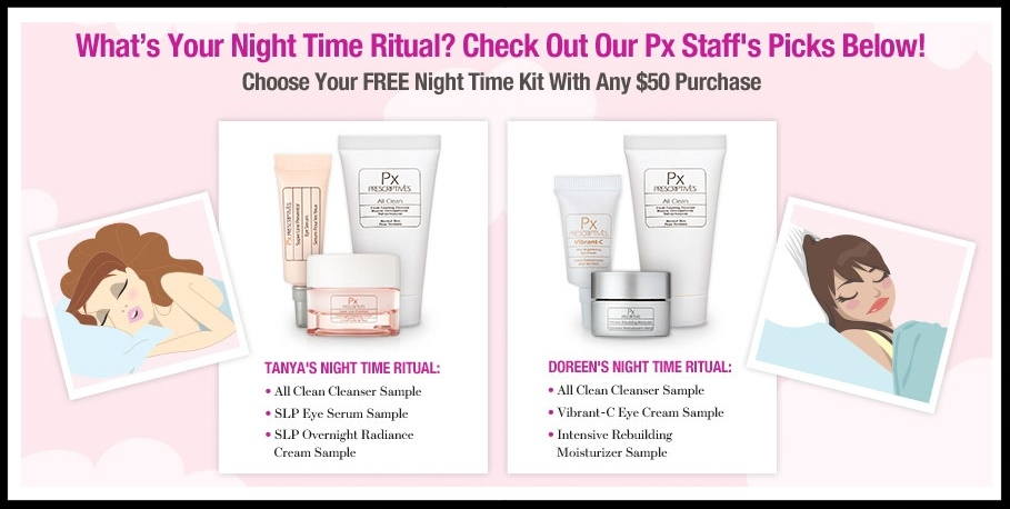 Prescriptives  ~ Choose Your Free Night Time Kit with any $50 Purchase (Ends 3/29) + 2 Free Deluxe Samples with any $25 Order + Free shipping and returns