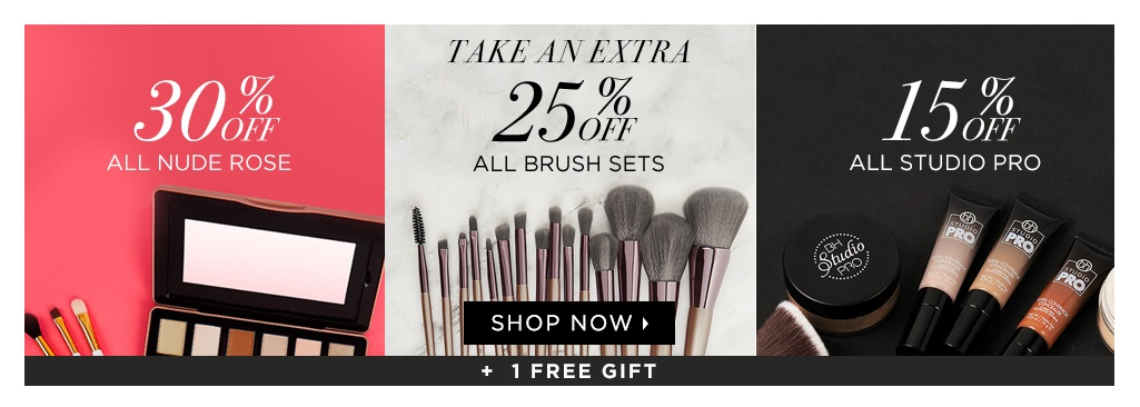bh cosmetics  ~ Lots of great sales (Ends 4/1)+ 1 free gift with any puchase from the above sales + free shipping with $50 order
