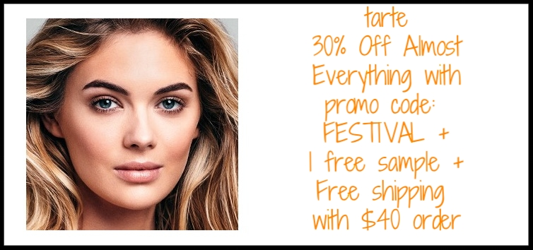 tarte cosmetics  ~ 30% Off Almost Everything with promo code: FESTIVAL +  Sale Items  + 1 free sample + Free shipping with $40 order