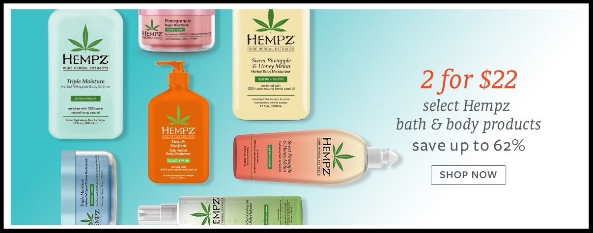 Beauty Brands  ~  2 For $22 on Select Hempz Bath & Body Products (Save up to 62%) + $3.50 off of qualifying $10 purchase with promo code: EC14118 + Free sample bag + Free shipping with $50 order