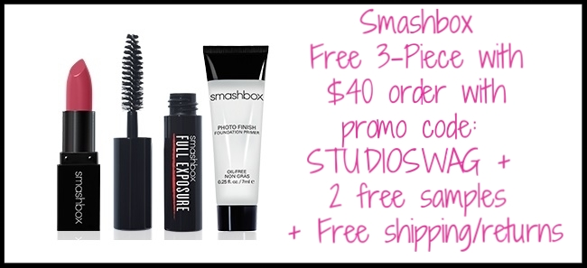 Smashbox  ~ FREE STUDIO SWAG KIT! (DELUXE SAMPLES OF CLASSIC PRIMER, FULL EXPOSURE MASCARA, & BE LEGENDARY LIPSTICK IN STYLIST MATTE) with $40 purchase with promo code: STUDIOSWAG (Ends 4/9) + 2 free samples + Free shipping and returns with any order