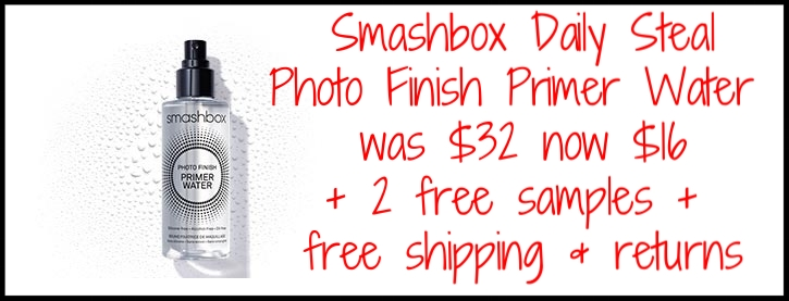Smashbox ~ 7 Days of Studio Steals ~ Day 1 ~  Photo Finisher Primer Water with promo code: PRIMERWATER (Ends 4/10) ~ was: $32 now: $16 + 2 free samples + free shipping and returns