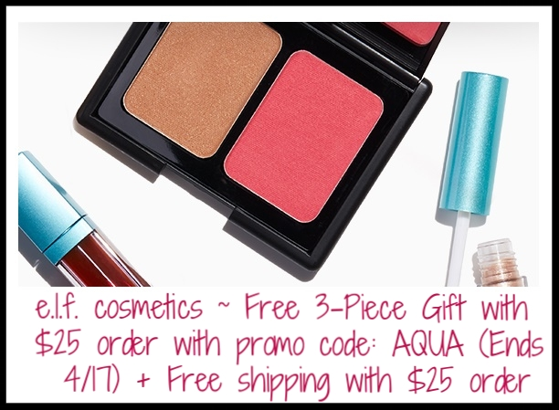 e.l.f. cosmetics  ~ Free 3-Piece Aqua Beauty Bundle ($14 value) with $25 purchase with promo code: AQUA (Ends 4/17) + Free shipping with $25 order