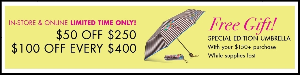 Henri Bendel ~  Sale Items  plus a Free Umbrella with $150 purchase or  $50 off of $250 or $100 of of every $400 on regular price  plus free umbrella with $150 purchase AND  $15 off full price necklaces  +$50 off of $250 OR $100 of of every $400 on regular price plus free umbrella with $150 purchase + Free shipping, returns, and monogramming