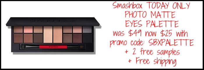 Smashbox ~  Beauty Steal  ~ PHOTO MATTE EYES PALETTE (Ends 4/13) was: $49 now: $25 with promo code: SBXPALETTE + 2 free samples + free shipping and returns