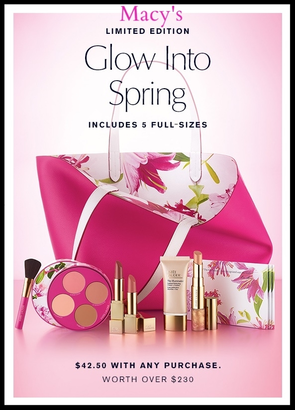 Macy's ~Estée Lauder (Lots of GWP Offers)~ Choose your  8-Piece Glow Into Spring Gift Set (Blushing Pinks or Glowing Nudes) - Only $42.50 with any Estée Lauder purchase +Free 2-Piece Gift with $55 Estée Lauder Purchase +FREE Mystery Gift with $50 online beauty purchase +Free Skincare or Makeup Gift with $75 Estée Lauder + Buy Any Estée Lauder Modern Muse Le Rouge Gloss or Modern Muse Chic, Get A Modern Muse Le Rouge Gloss or Chic FREE! + Double Wear To Go ($45 value) Only $25 with any Estée Lauder Foundation Purchase + Receive A Complimentary Skin Foundations Sample with any Makeup Purchase + Free shipping and returns with any beauty order