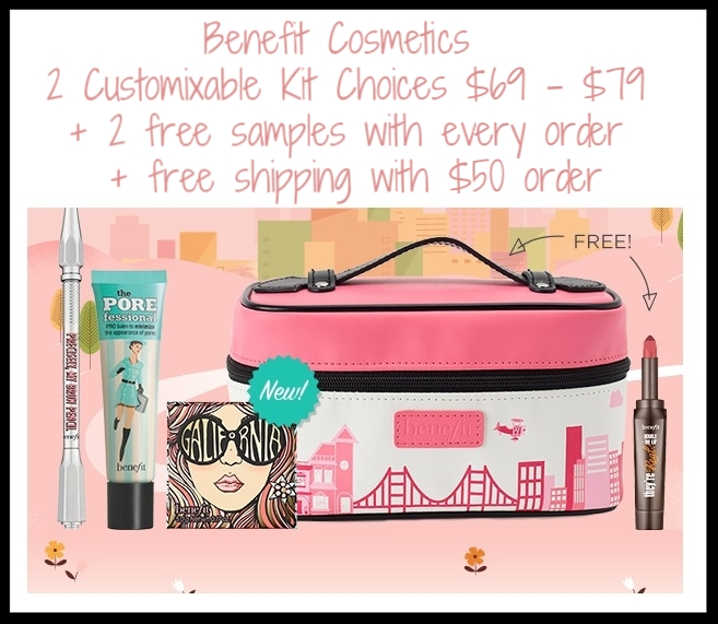 Benefit Cosmetics ~ Custom Makeup Kits  ~ Get what you want...and a little sumpin' extra! Build a custom kit with your fave products and get an exclusive makeup bag on us (plus, get your choice of a free gift!). It's the perfect package for you, or the perfect gift for her. Kit 1 ~ $69 (Up to a $108 value) Pick 3 brow products and get a freebie and makeup bag! Or Kit 2 ~ $79 (Up to a $112 value) Choose 3 iconic products and nab your choice of freebie and makeup bag! Plus 2 free samples with every order + free shipping with $50 order