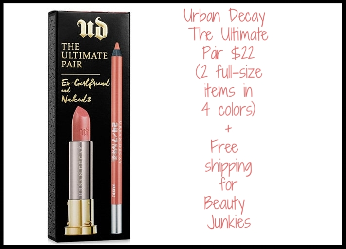 Urban Decay The Ultimate Pair  $22 (2 full-size items in 4 colors)  The Ultimate Pair by Urban Decay contains a full-size Vice Lipstick in one of Urban Decay's bestselling shades along with a matching full-size 24/7 Glide-On Lip Pencil so you can create an addictive lip look that really lasts. Plus free shipping on any beauty order for Beauty Junkies!