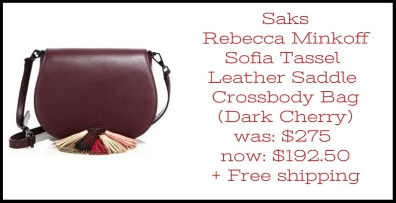 Saks ~  Rebecca Minkoff  ~Sofia Tassel Leather Saddle Crossbody Bag (Exclusively at Saks ~ Dark Cherry) ~ was: $275 now: $192.50 + Free shipping